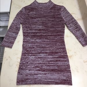 Purple half turtle neck sweater, slim fit